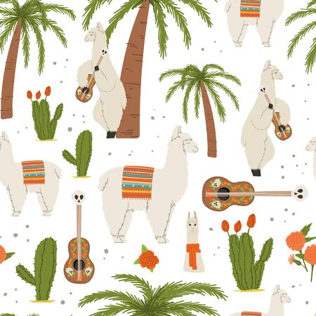 Lama with guitar flat hand drawn style mexican seamless pattern. Stock vector