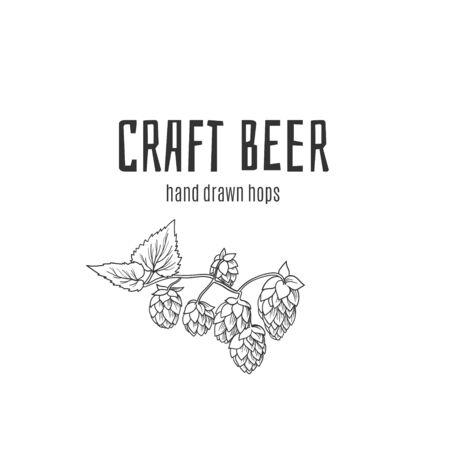 Craft beer hops hand drawn logo for label, poster, banner etc. Çizim