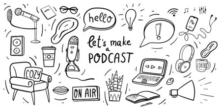 Lets make a podcast hand drawn doodles with laptop, microphone, headset, shout, on air sign, smartphone with headphones, coffee mug, cozy armchair and houseplant.