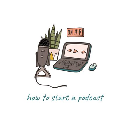 How to start a podcast concept hand drawn doodle illustration with laptop and microphone.