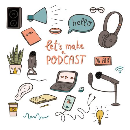 Podcast doodles set about making broadcasting show.