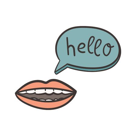 Woman mouth and hello speech bubble. Doodle style concept communication illustration. Print for t-shirt, label, stamp, patch etc.  イラスト・ベクター素材