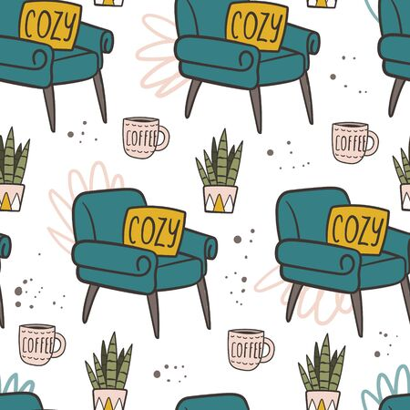 Cozy home doodles with chair, houseplant, coffee cup and book seamless pattern.