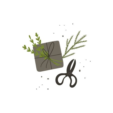 Gift wrapping. Present wrapped box, Christmas tree branch and retro scissors. Flat lay hand drawn doodle style concept illustration. Stock vector  イラスト・ベクター素材