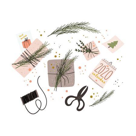 Emballage de boîtes à cadeaux avec des branches de sapin, papier kraft dans un style rustique à la mode. Ciseaux rétro vintage, bobine de fil, calendrier 2020, cartes de voeux concept plat de dessin animé dessiné à la main. Vecteur d'actions