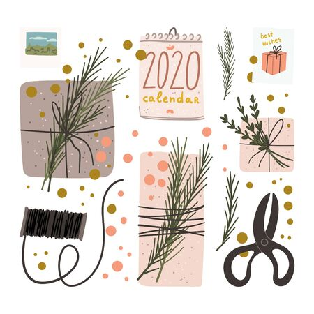 Flat lay with view from above. Hand drawn cartoon flat style concept of preparation for Christmas and New Year with present boxes, retro scissors, spool of thread, calendar, greeting cards. Vector
