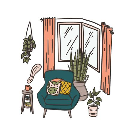 Cozy armchair with pillows and houseplants near window. Hand drawn doodle concept illustration. Stock vector