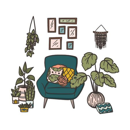 Cozy armchair with pillows and houseplants near window. Hand drawn doodle concept illustration. Stock vector  イラスト・ベクター素材