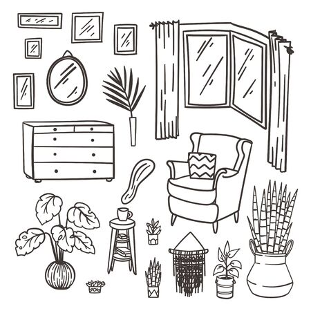 Bedroom furniture doodle set. Hand drawn interior elements. Stock vector