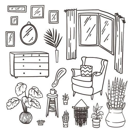 Schlafzimmermöbel-Doodle-Set. Handgezeichnete Innenelemente. Stock Vektor
