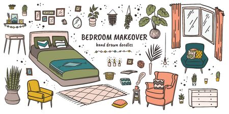 Bedroom makeover doodle hand drawn furniture and decor elements set. House plants cartoon drawing. Stock vector