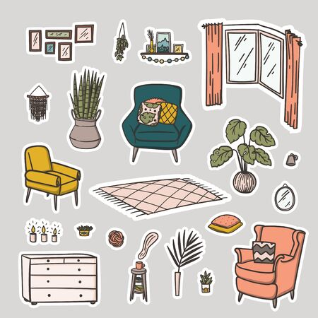 Living room interior design doodle style hand drawn stickers set. Stock vector