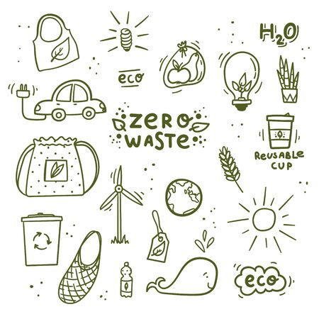 Zero waste and recycling doodles hand drawn cotton bread bags, homemade jam, tea strainer, saving paper, reusable tea bag, plant food etc. Stock vector