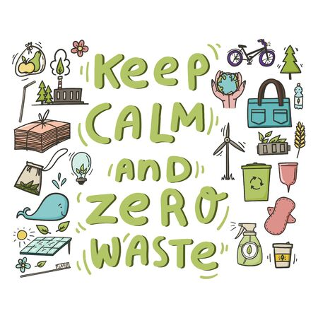 Keep calm and zero waste doodles banner, poster, t-shirt or tote bag print about saving paper, reuse, reduce, solar battery, eco friendly plant etc . Stock vector  イラスト・ベクター素材