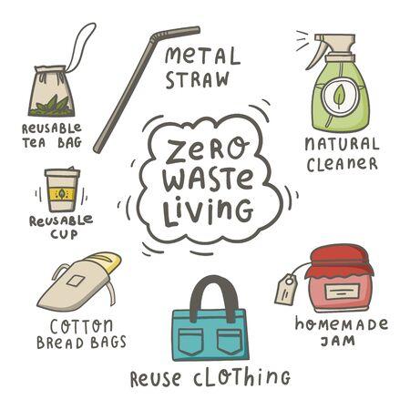 Zero waste living doodle concept. Hand drawn reusable tea bag, natural cleaner, metal straw, homemade jam, cotton bread bag, reusable cup, reuse clothing. Stock vector