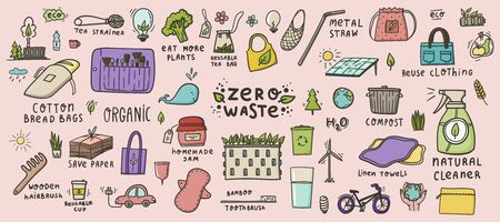 Zero waste hand drawn colored doodles. Green city, eco living, reuse and reduce. Stock vector