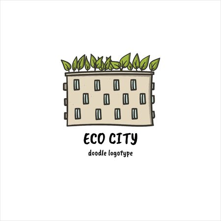 Eco city hand drawn doodle style simple logo. Ecological logotype with building and green leaves on it. Stock vector