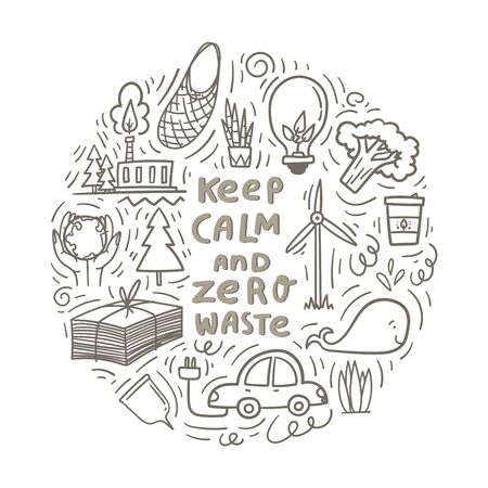 Keep calm and zero waste. Hand drawn doodles with paper saving, green plant, electric car, wind mill, lightbulb with green leaves as green energy. Stock vector