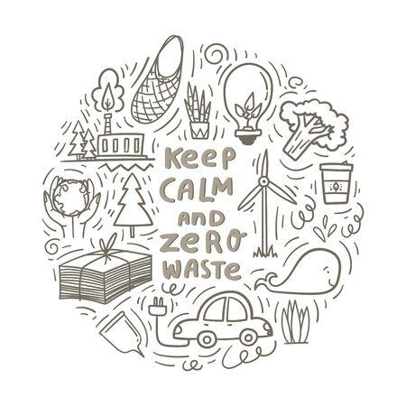 Restez calme et zéro déchet. Griffonnages dessinés à la main avec économie de papier, plante verte, voiture électrique, moulin à vent, ampoule avec des feuilles vertes comme énergie verte. Vecteur d'actions