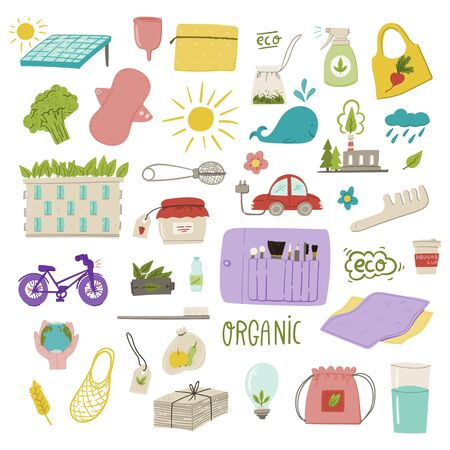 Ecological and zero waste living hand drawn doodle concept illustrations for logo, poster, cars, banner etc. Stock vector