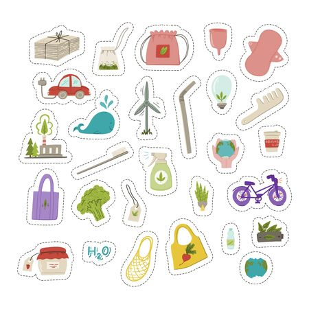 Zero waste, reuse and reduce, minimalist lifestyle and ecological living set of stickers. Hand drawn doodle style cartoon wind mill. metal straw, cotton tote bag, nature cleaner, bicycle. Stock vector