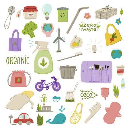 Organic and zero waste hand drawn doodle style cartoon illustration. Stock vector