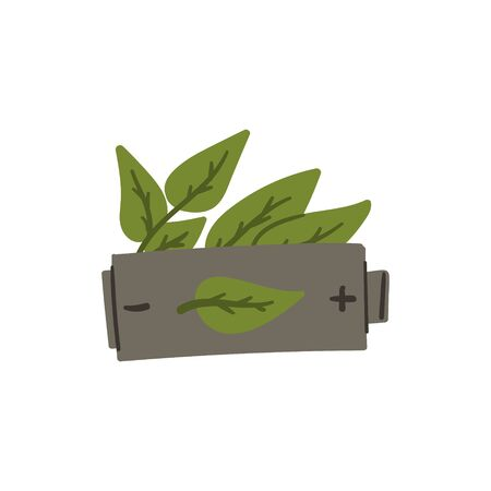 Battery with green leaves doodle style hand drawn zero waste and ecological green energy concept. Stock vector Иллюстрация