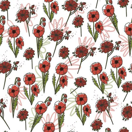 Icelandic poppy and anemone hand drawn seamless pattern. Stock vector Illustration