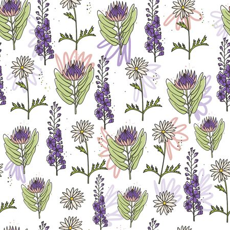 Floral king protea, daisy and delphinium seamless hand drawn doodle style seamless pattern. Stock vector Ilustração