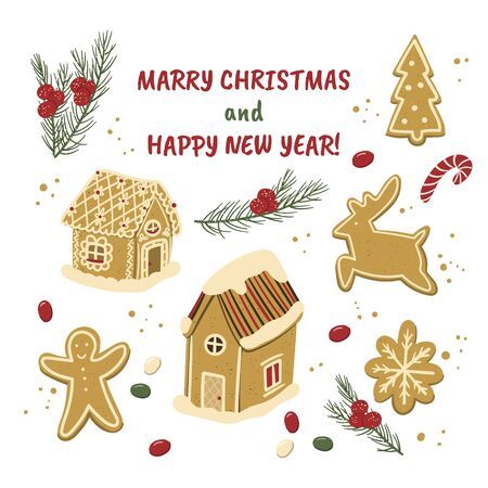 Merry Christmas and Happy New year gingerbread houses, fir tree, ginger man and deer cookies cartoon hand drawn style illustration for holiday designs.