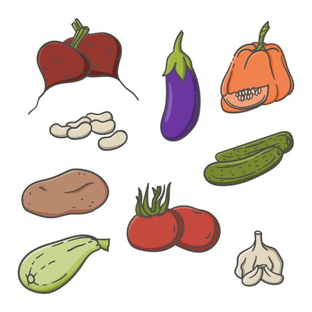 Vegetables doodle cartoon hand drawn illustration isolated on white. Stock vector