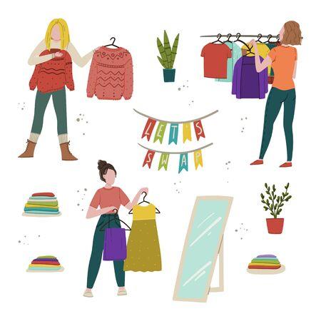 Let's swap. Clothes swap meet, flea market second hand or donation hand drawn cartoon style flat concept illustration. Stock vector