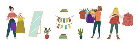 Clothes swap party. Lets Swap. Doodle cartoon zero waste hand drawn concept illustration. Vector Illustratie