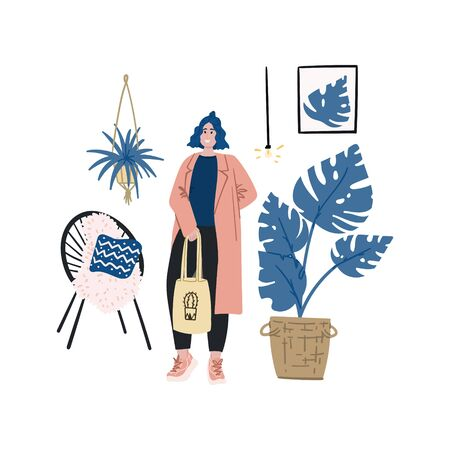 Hipster girl in trendy clothes in urban jungle interior design with acapulco chair and monstera hand drawn flat cartoon doodle sketch .Stock vector