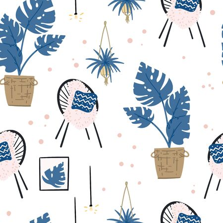 Seamless pattern urban jungle interior design with acapulco chair and monstera hand drawn flat cartoon doodle.