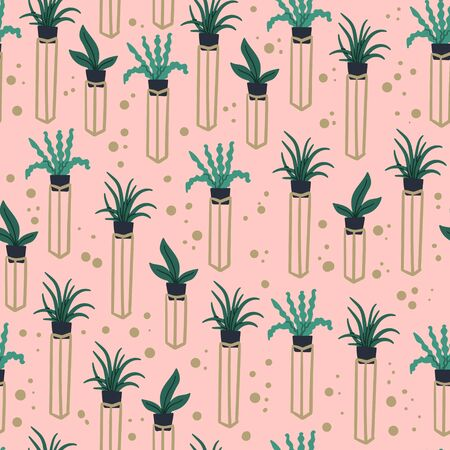 Boho chic style urban jungle seamless pattern with hand drawn plants in flowerpots. Wrapping paper, textile, fabric texture