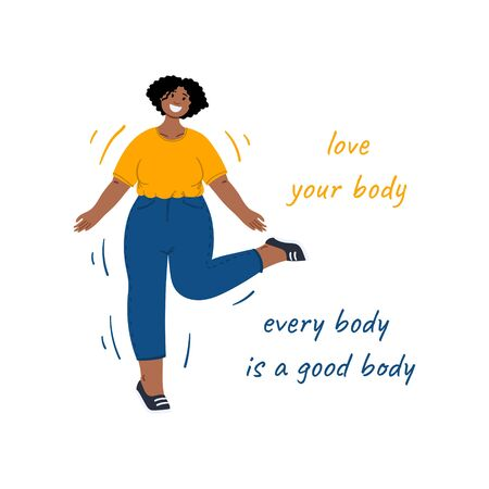 Happy body positive woman dance, Love your body. Every body is a good body. Hand drawn flat cartoon illustration. Stock vector