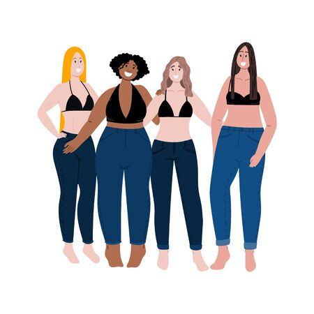 Multiracial group of women with different body shape, high and weight. Diversity flat cartoon hand drawn concept illustration. Love your body. Body positive. Stock vector 일러스트