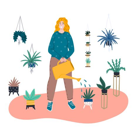 Girl watering a flower from a watering can. Houseplant in trendy flowerpot. Cartoon flat hand drawn vector ilustration. Stock vector