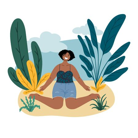 African happy woman sits on the beach. Summer vacation trip. Body positive, self love and self acceptance hand drawn cartoon flat concept illustration Illustration