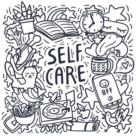 Self care doodles hand drawn vector illustration. Free hand drawing. Cat, house plant, music, health care, good sleep, yoga mat. Stock vector
