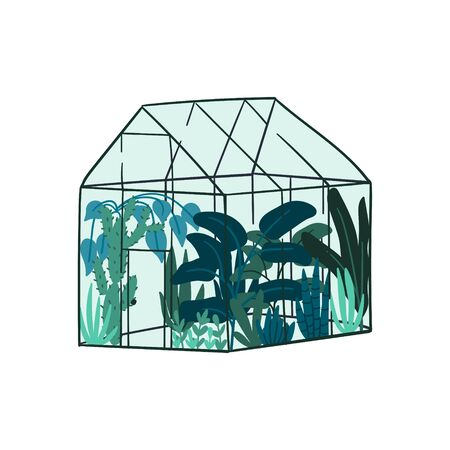 Greenhouse flat cartoon style hand drawn illustration. Urban jungle concept. Tropical trees and flowers. 일러스트