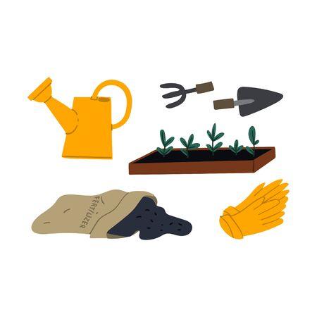 Planting seedlings cartoon flat style hand drawn concept illustration. Backyard garden work