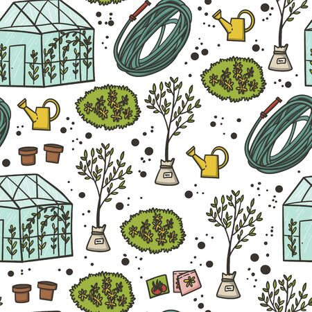 Garden works seamless pattern hand drawn cute flat cartoon style. Gardening doodles. Spring or summer green house work.