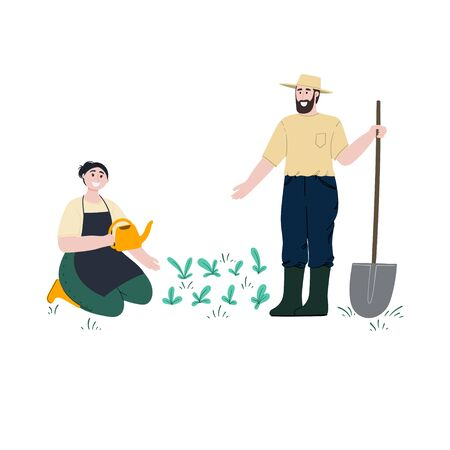 Man and woman works in garden or backyard. Woman waters seedlings. Man stands with a shovel. Spring or summer gardening and farming. Cartoon characters. Flat style hand drawn vector illustration.