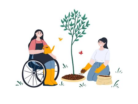 Happy women gardening. Woman on wheelchair is watering a seedling in a garden. Girl is mulching a tree. Gardening on the backyard. Outdoor activity or hobby. Cartoon flat style concept illustration. Stock vector Ilustracja