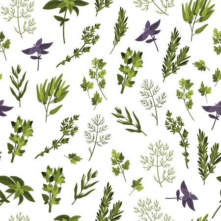 Culinary herbs seamless pattern. Cartoon flat style. Doodle hand drawn background for textile, packaging, wrapping. Vettoriali