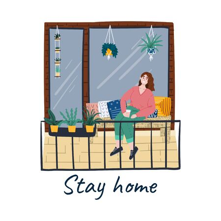 Stay home. Girl or woman rests at home. Person is chilling on a balcony. Self isolation during quarantine. Preventive measures during a pandemic. Cartoon hand drawn concept illustration. Stock vector 向量圖像