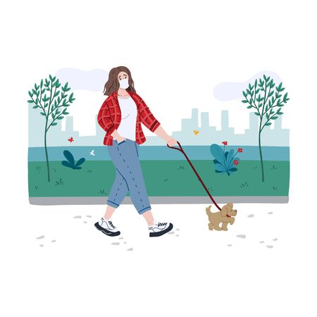 Young woman walking a dog along the waterfront during coronavirus world pandemic. Prevention measures. Hand drawn doodle cartoon concept illustration.