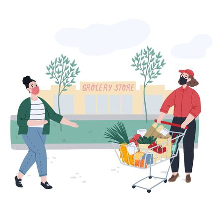 Woman orders and pickups food near a grocery store. Non contact food delivery. Cartoon flat hand drawn concept illustration. Stock vector